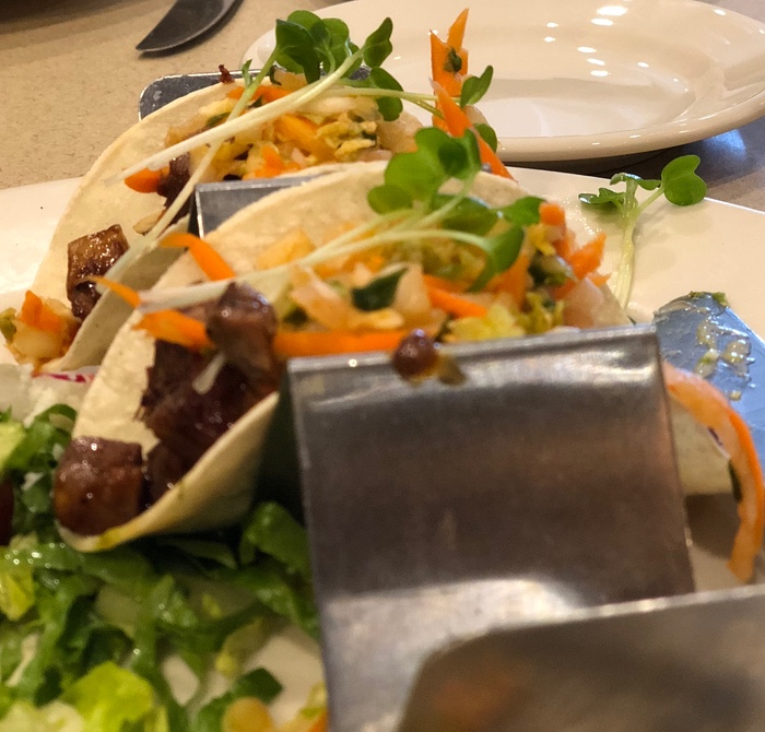 A look at the Nordstrom Marketplace Café Korean Barbecue Taco offering.